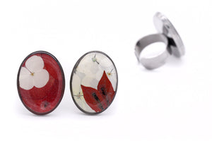Flower Statement Rings - Red & White Collage