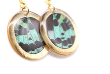 Load image into Gallery viewer, Geometric Green Sunset Earrings - Gold Circle
