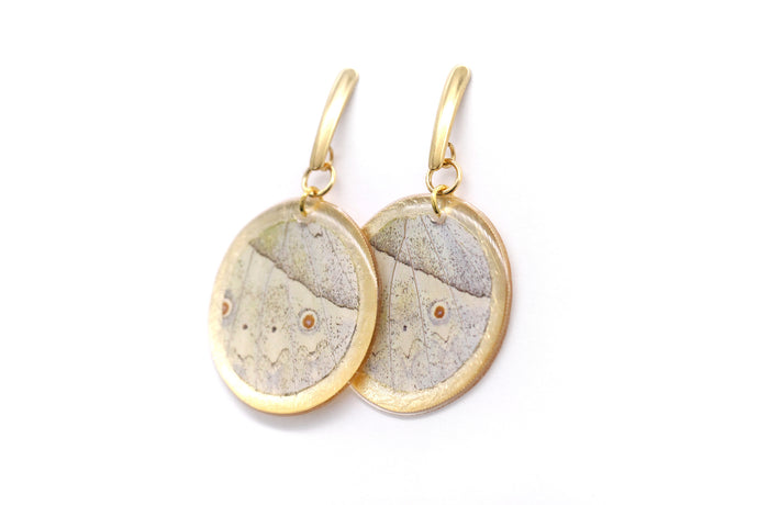 Geometric Mother of Pearl Wing Earrings - Gold Circle