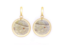 Load image into Gallery viewer, Geometric Mother of Pearl Wing Earrings - Gold Circle