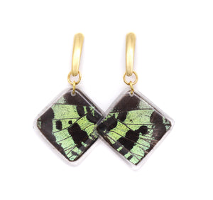 Geometric Green Sunset Earrings - Diamond