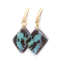 Load image into Gallery viewer, Geometric Green Sunset Earrings - Diamond