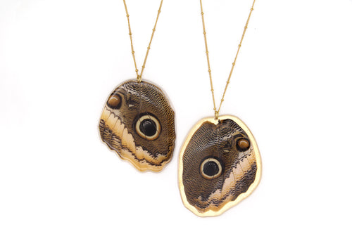 Owl Butterfly Wing Necklace