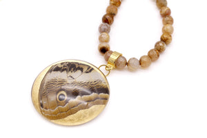 Agate Necklace - Owl Butterfly