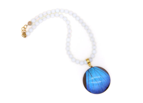 Agate Necklace - Blue Morpho