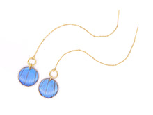 Load image into Gallery viewer, Threader Earrings - Blue Morpho