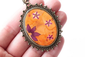 Pressed Flower Necklace - Orange Hydrangeas