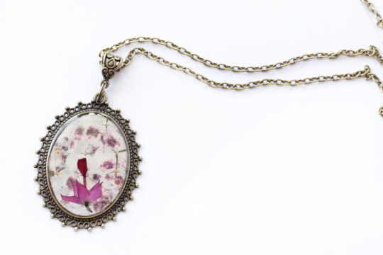 Pressed Flower Necklace - White and Purple Hydrangeas