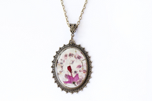 Load image into Gallery viewer, Pressed Flower Necklace - White and Purple Hydrangeas
