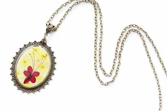 Pressed Flower Necklace -Yellow Hydrangeas