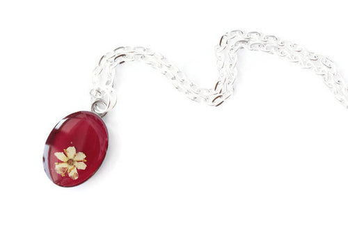 Flower Steel Mini Pendant - Burgundy