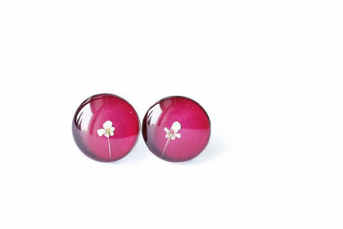 Flower Steel Studs - Burgundy