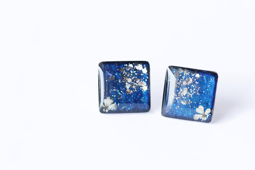 Flower Steel Studs - Blue & Silver