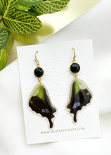 Load image into Gallery viewer, Onyx Earrings - Green and Black Wings