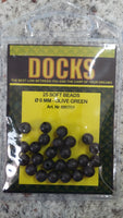 Docks beads soft 6mm olive green