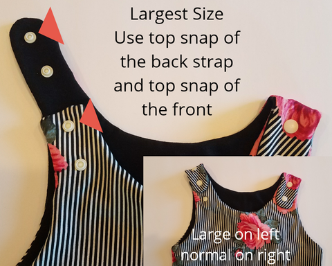Largest size adjustment for the Forever Tank Romper which is a grow with me style romper