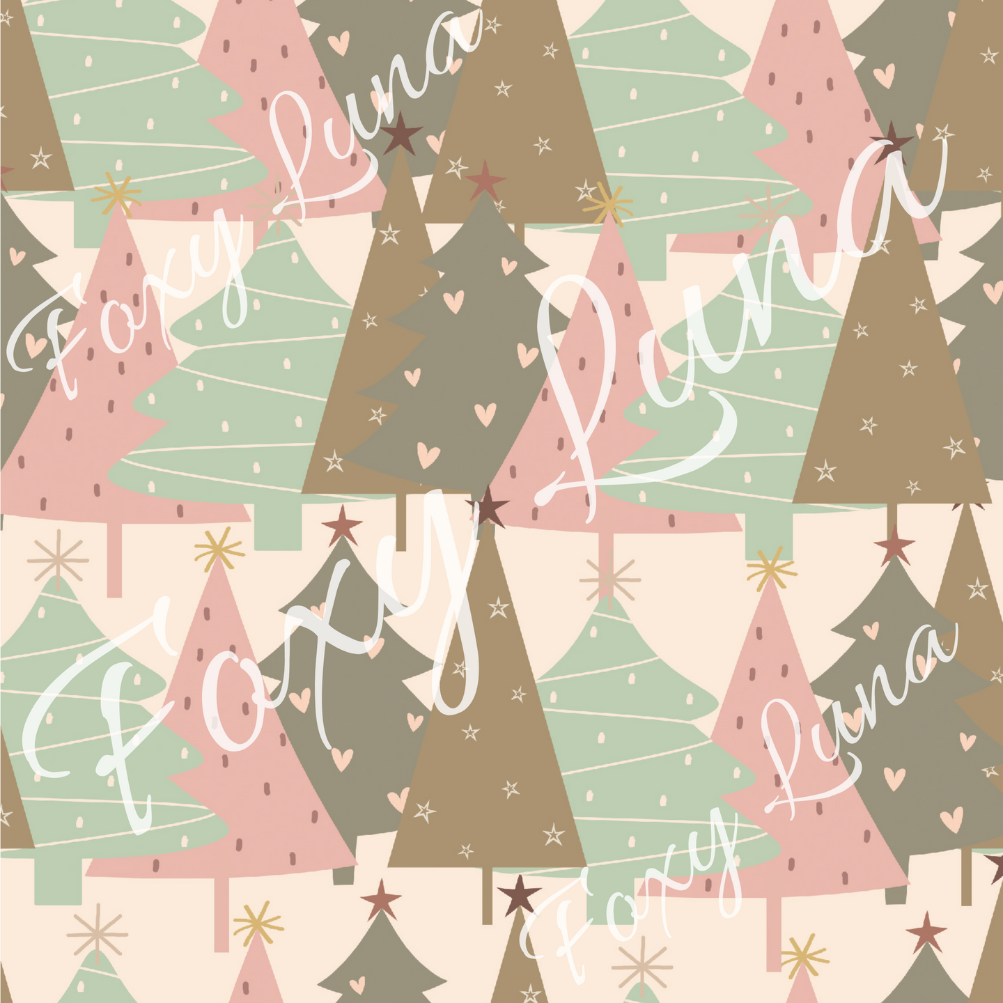 Christmas Trees Seamless Digital File