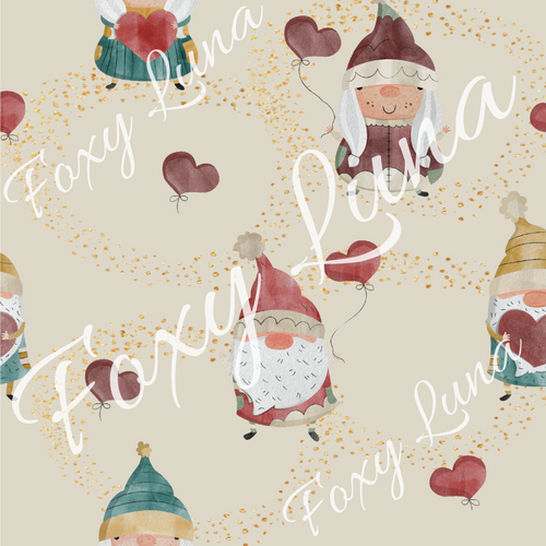 Valentine's Day Gnomes Seamless Digital File