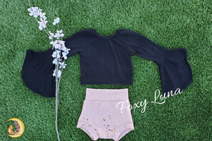 Ready to Ship Butterfly Sleeve Top in Black