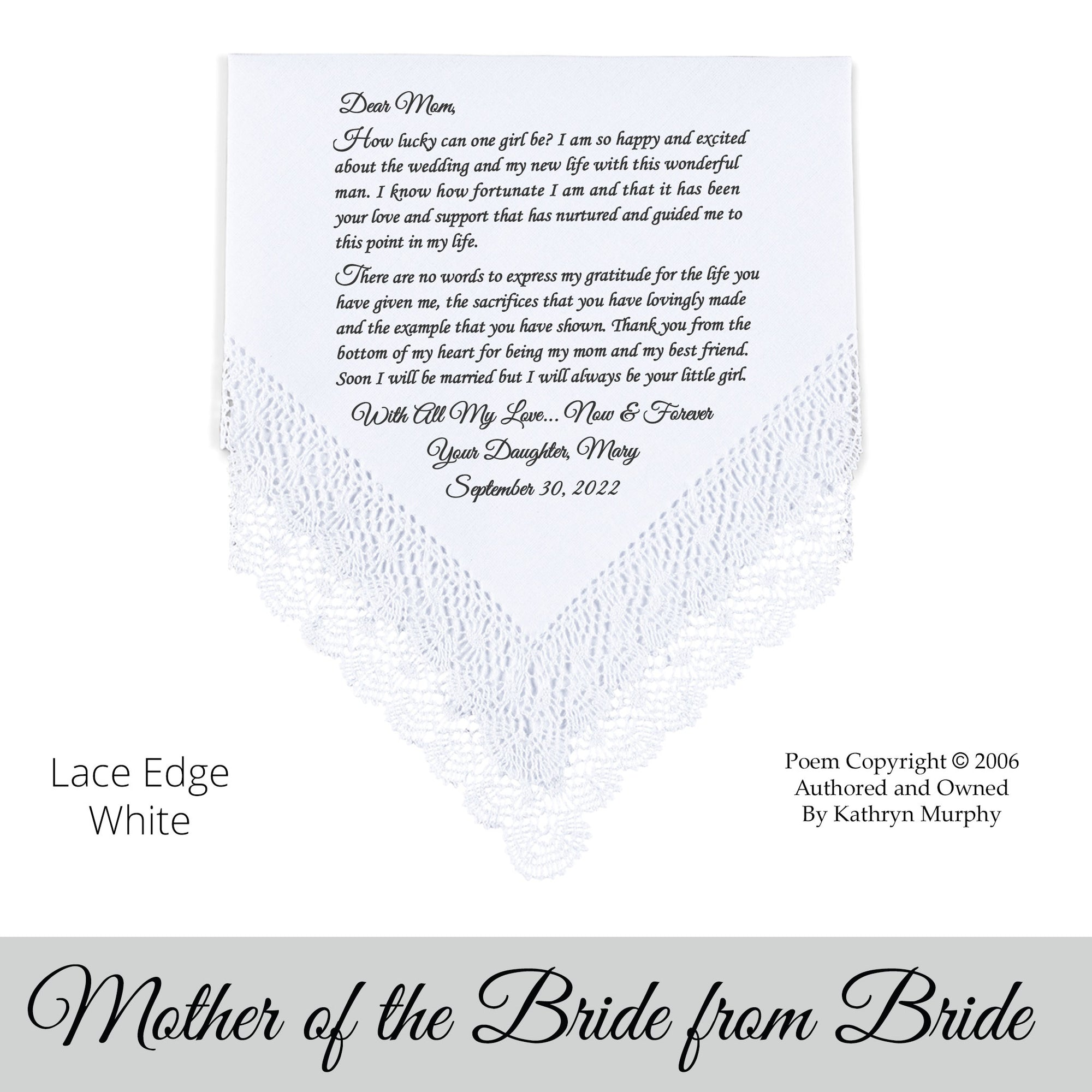 Poem Printed Wedding Hankie For Mother Of The Bride From Bride How Lucky Can I Be