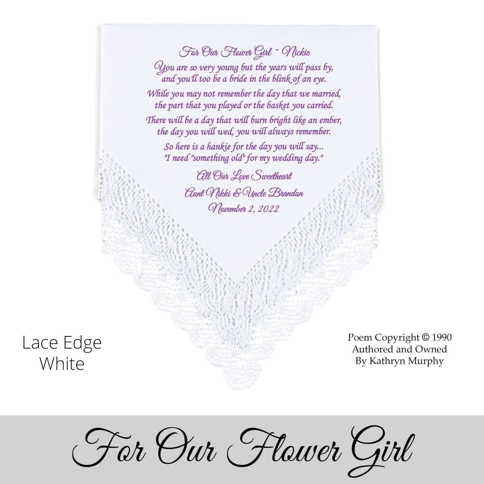 Traditional Wedding Hankies From The Bride For A Flower Girl Ring