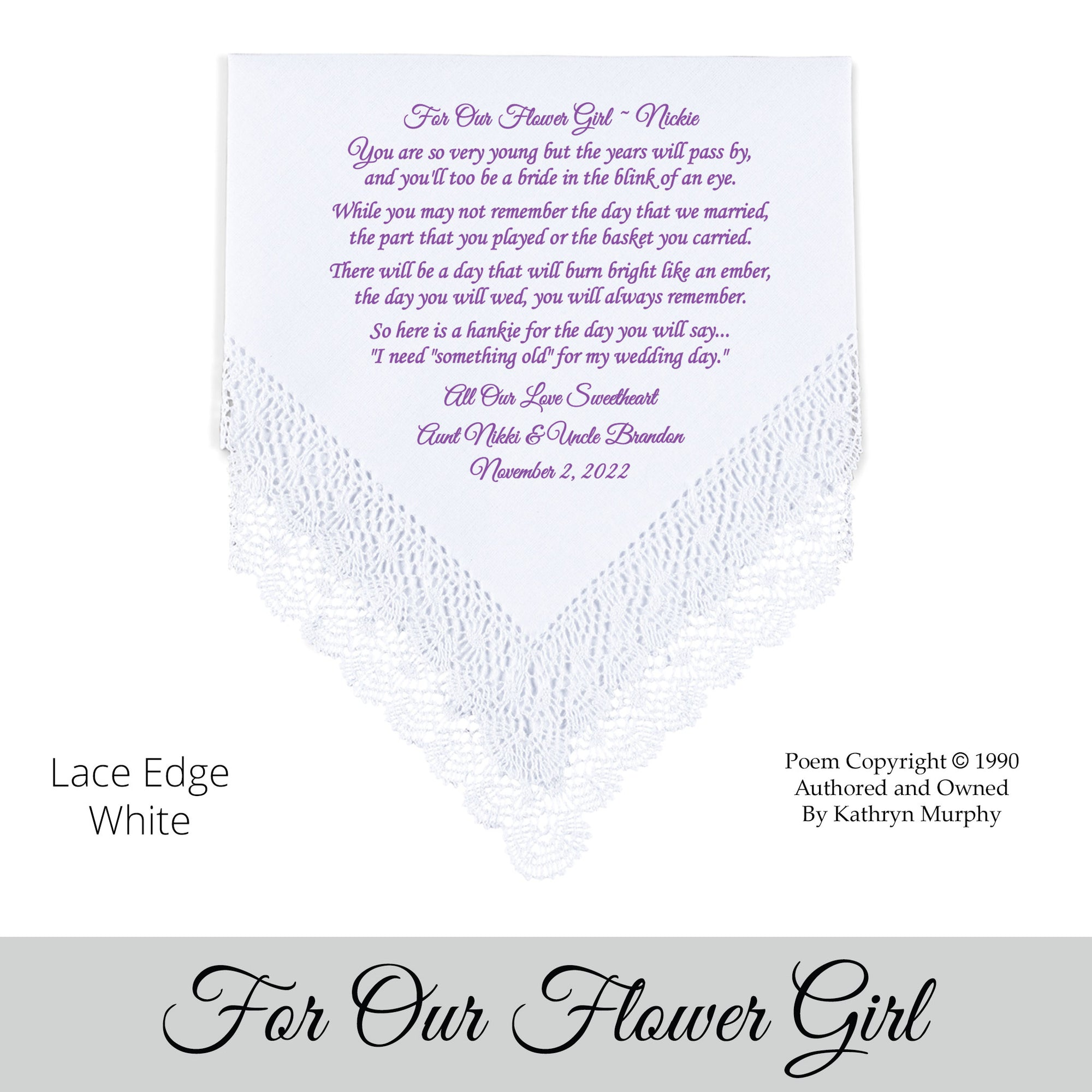 Poem Printed Wedding Hankie for Our Flower Girl