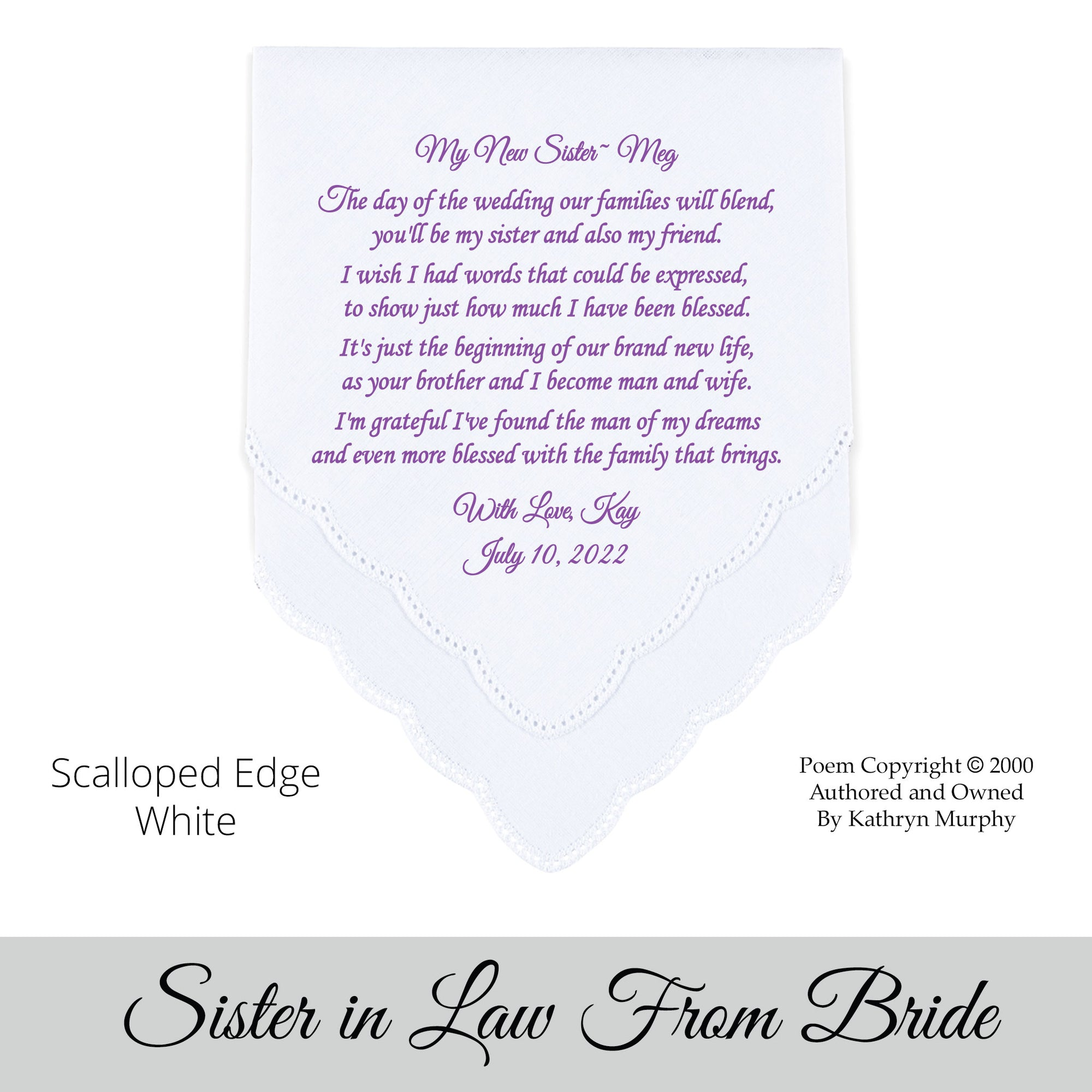 Embroidered Wedding Handkerchief Monogrammed poem Sister in Law FREE matching gift envelope BRIDE heirloom shells personalized hankie gift e