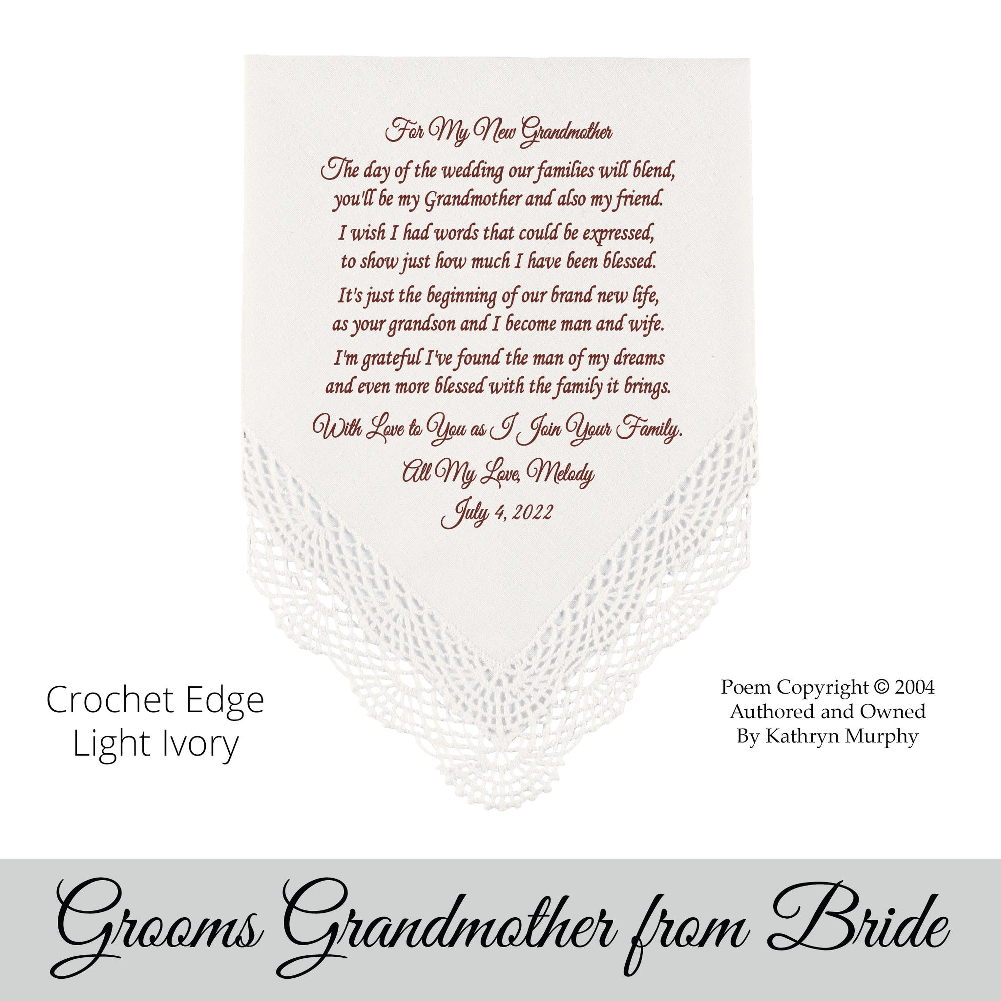 Traditional Wedding Gift From Groom To Bride: Poem Printed Wedding Hankie Bride To The Groom's