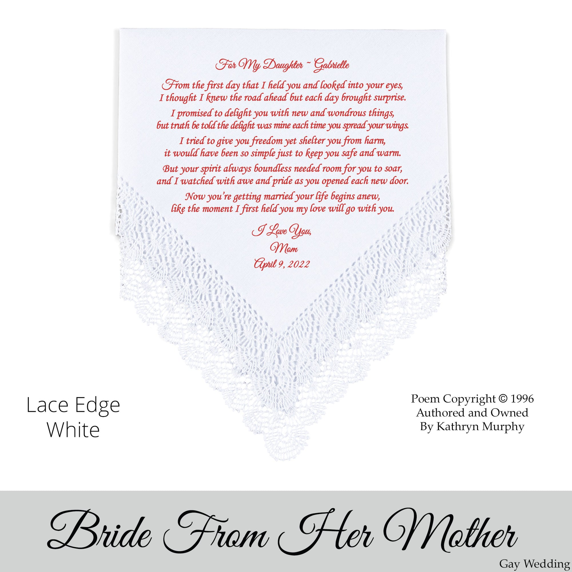 """Wedding Day Poems For Bride: Poem Printed Gay Wedding Hankie For Bride From Her Mom """"My"""