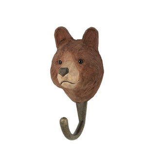 Hand Carved Brown Bear Hook