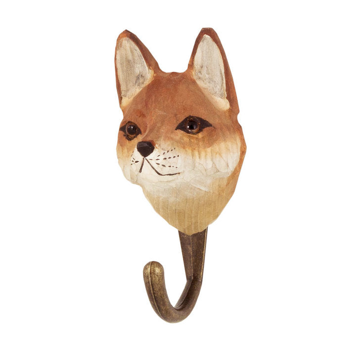 Hand Carved Red Fox Hook