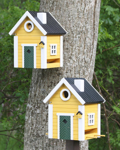 Multiholk - Yellow Cottage Bird Feeder Bird House