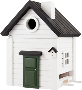 Multiholk - White Cottage Bird Feeder Bird House