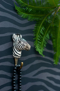 Hand Carved Zebra Hook