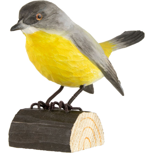 Hand Carved DecoBird Eastern Yellow Robin