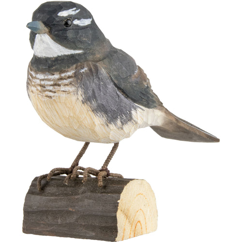 Hand Carved DecoBird Grey Fantail