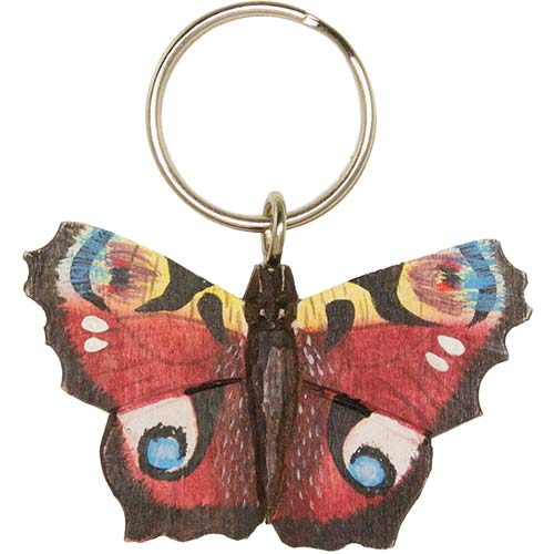 Hand Carved Butterfly Keyring