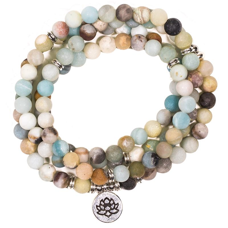 Collier MALA en pierre naturelle Amazonite avec lotus