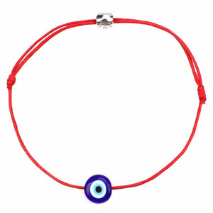 Bracelet Œil de Protection bleu cordon rouge