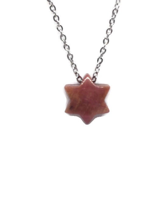 COLLIER ÉTOILE EN PIERRE NATURELLE RHODONITE