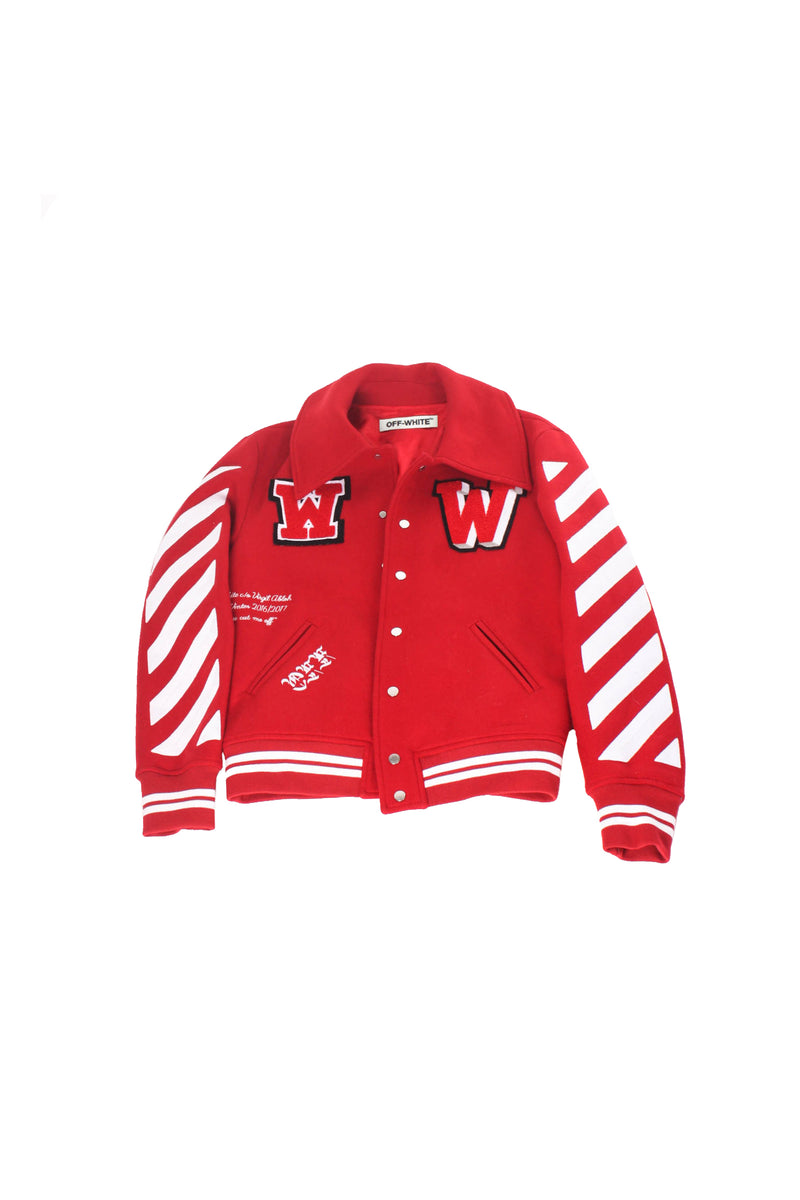 Red Off White Letterman Jacket
