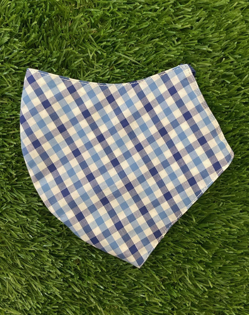 Blue gingham mask with rickrack