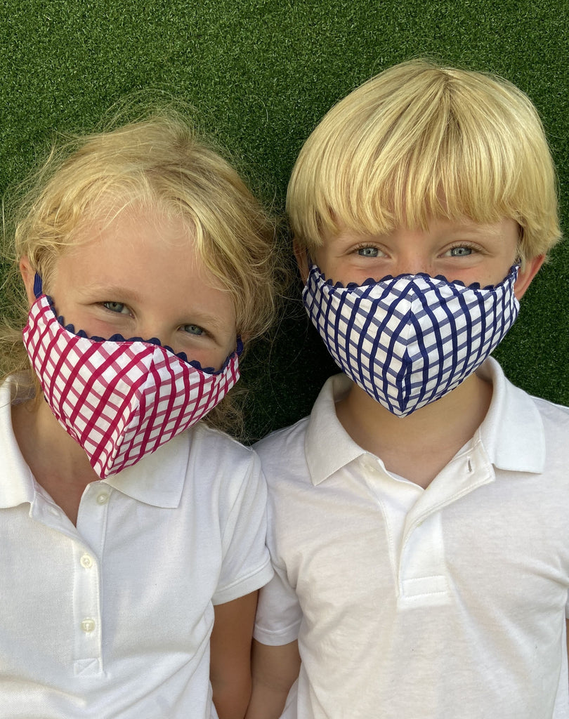 Child masks with navy and pink windowpane