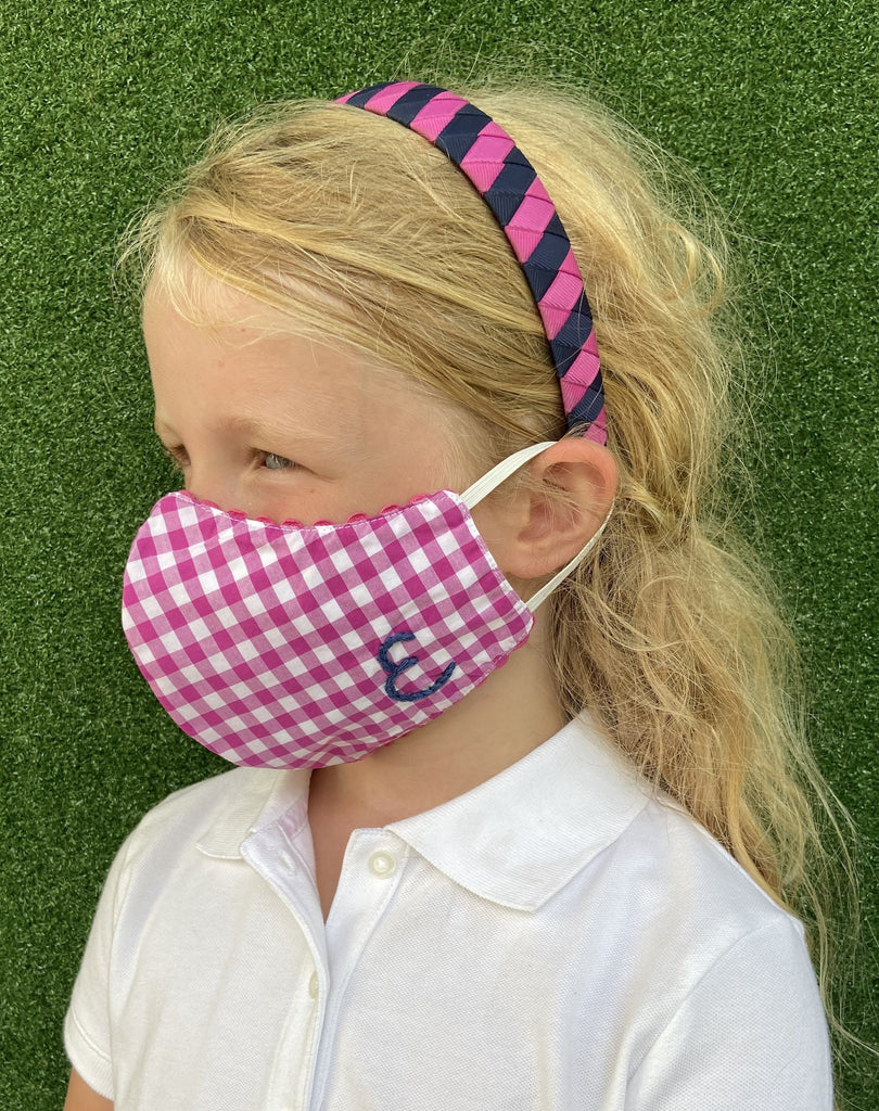 Child mask pink gingham