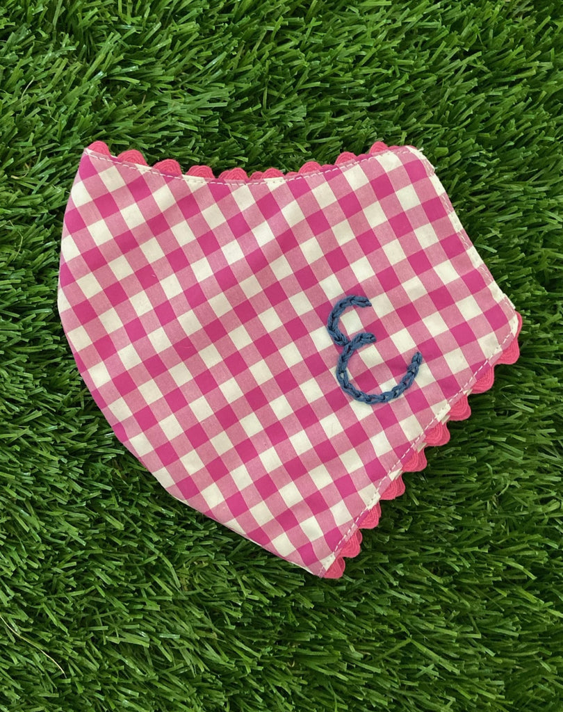 pink gingham mask with stitched letter