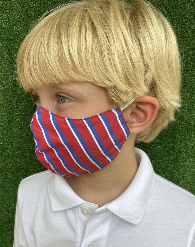 child mask with red and blue stripes