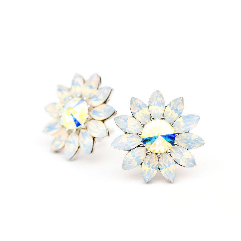 BLOOM ENDLESS LOVE FLOWER EARRING WHITE OPAL EARRING - FOREVER - VOIAGE FOREVER