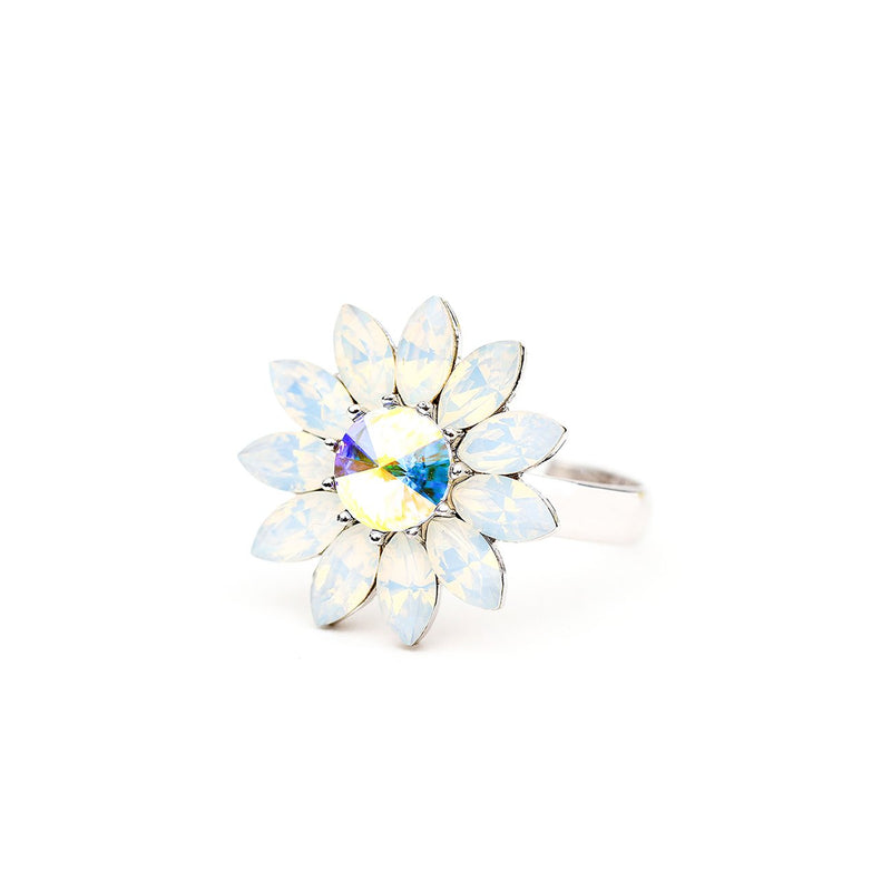 BLOOM ENDLESS LOVE FLOWER RING WHITE OPAL RING - FOREVER FOREVER