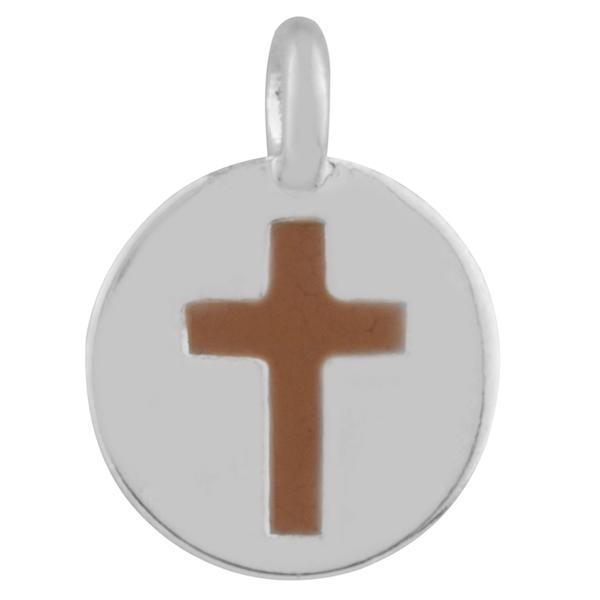 CHARM MEMOIR FAITH CROSS BROWN MEMOIR FOREVER CRYSTALS