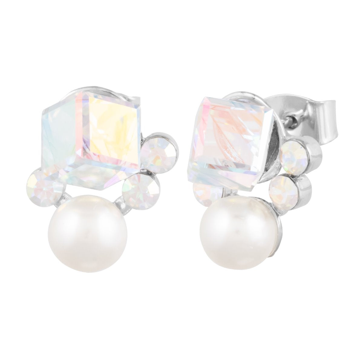 Cube Cluster Earring Aurora Borealis ESSENTIALS FOREVER CRYSTALS